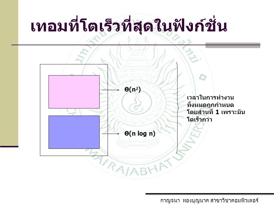 กาญจนา ทองบุญนาค สาขาวิชาคอมพิวเตอร์ Ө(n 2 ) Ө(n log n) เวลาในการทำงาน ทั้งหมดถูกกำหนด โดยส่วนที่ 1 เพราะมัน โตเร็วกว่า เทอมที่โตเร็วที่สุดในฟังก์ชั่น