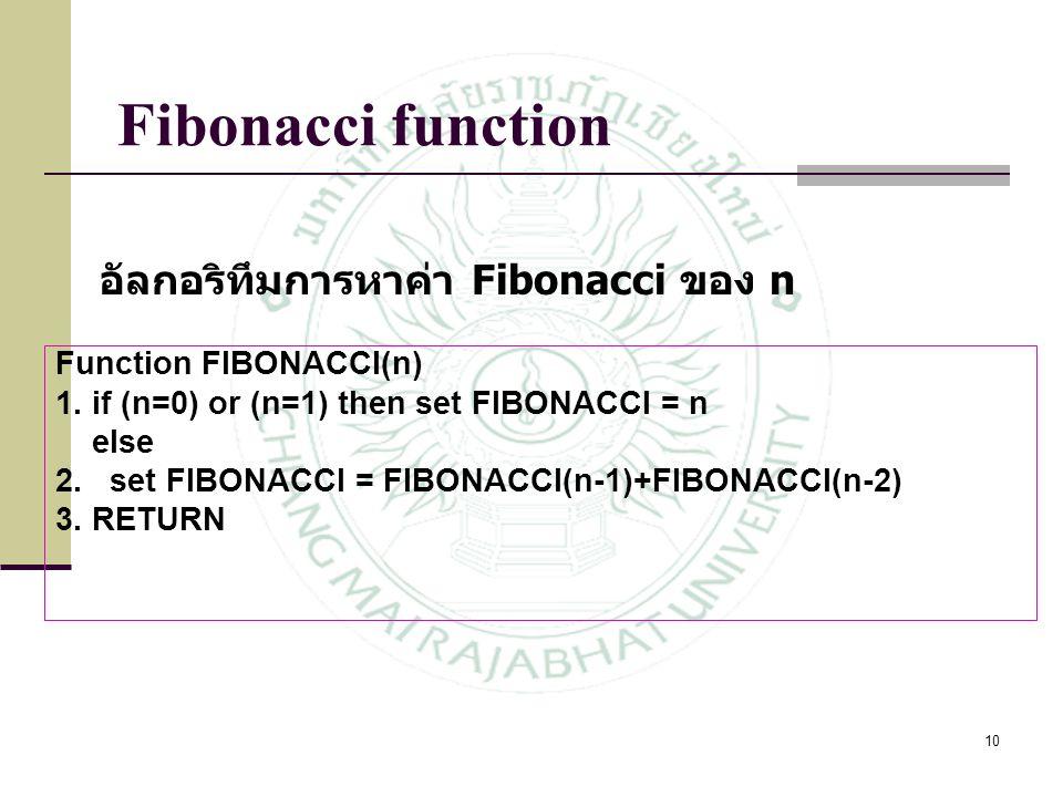 10 Function FIBONACCI(n) 1. if (n=0) or (n=1) then set FIBONACCI = n else 2. set FIBONACCI = FIBONACCI(n-1)+FIBONACCI(n-2) 3. RETURN Fibonacci functio