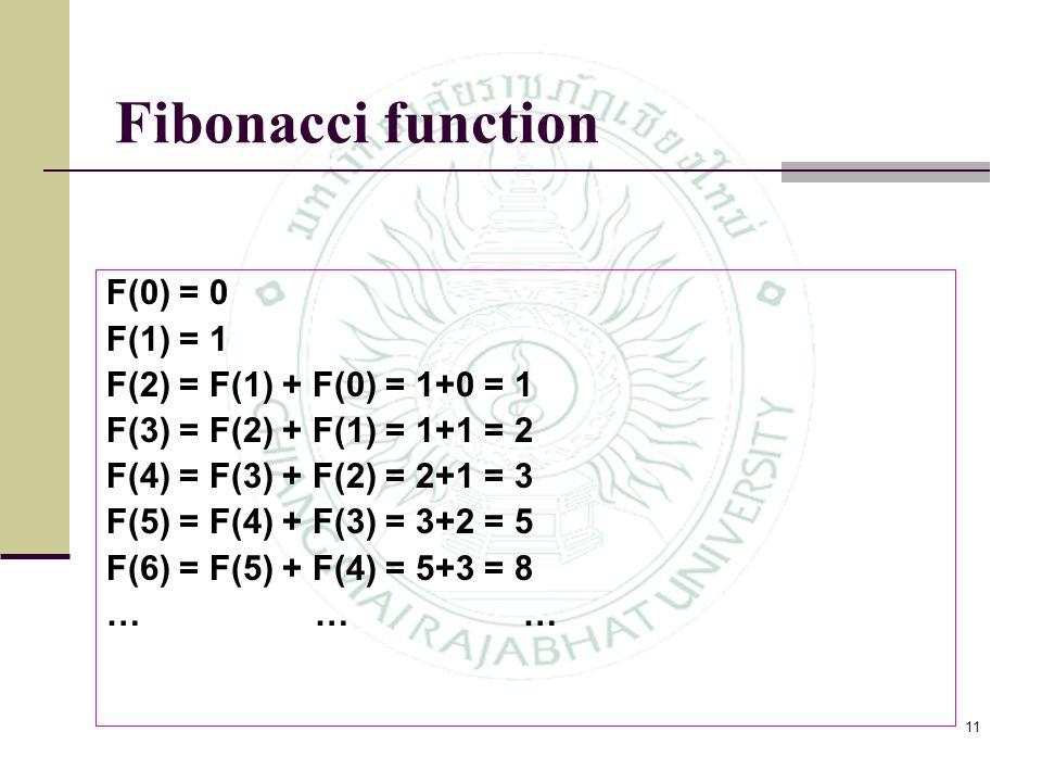 11 F(0) = 0 F(1) = 1 F(2) = F(1) + F(0) = 1+0 = 1 F(3) = F(2) + F(1) = 1+1 = 2 F(4) = F(3) + F(2) = 2+1 = 3 F(5) = F(4) + F(3) = 3+2 = 5 F(6) = F(5) +
