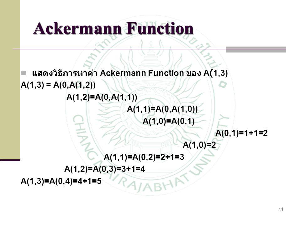 14 แสดงวิธีการหาค่า Ackermann Function ของ A(1,3) A(1,3) = A(0,A(1,2)) A(1,2)=A(0,A(1,1)) A(1,1)=A(0,A(1,0)) A(1,0)=A(0,1) A(0,1)=1+1=2 A(1,0)=2 A(1,1
