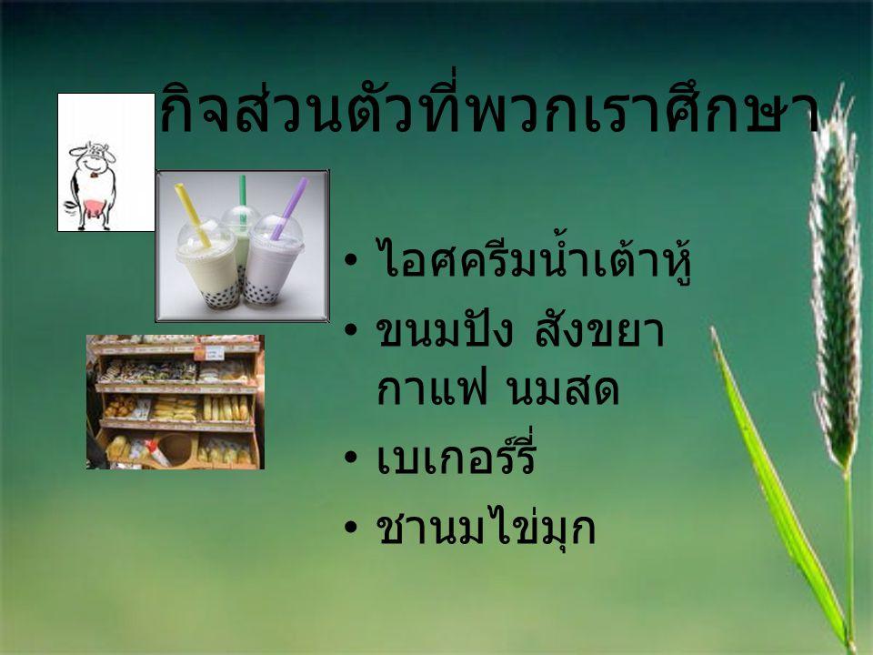ธุรกิจส่วนตัวที่พวกเราศึกษา ไอศครีมน้ำเต้าหู้ ขนมปัง สังขยา กาแฟ นมสด เบเกอร์รี่ ชานมไข่มุก