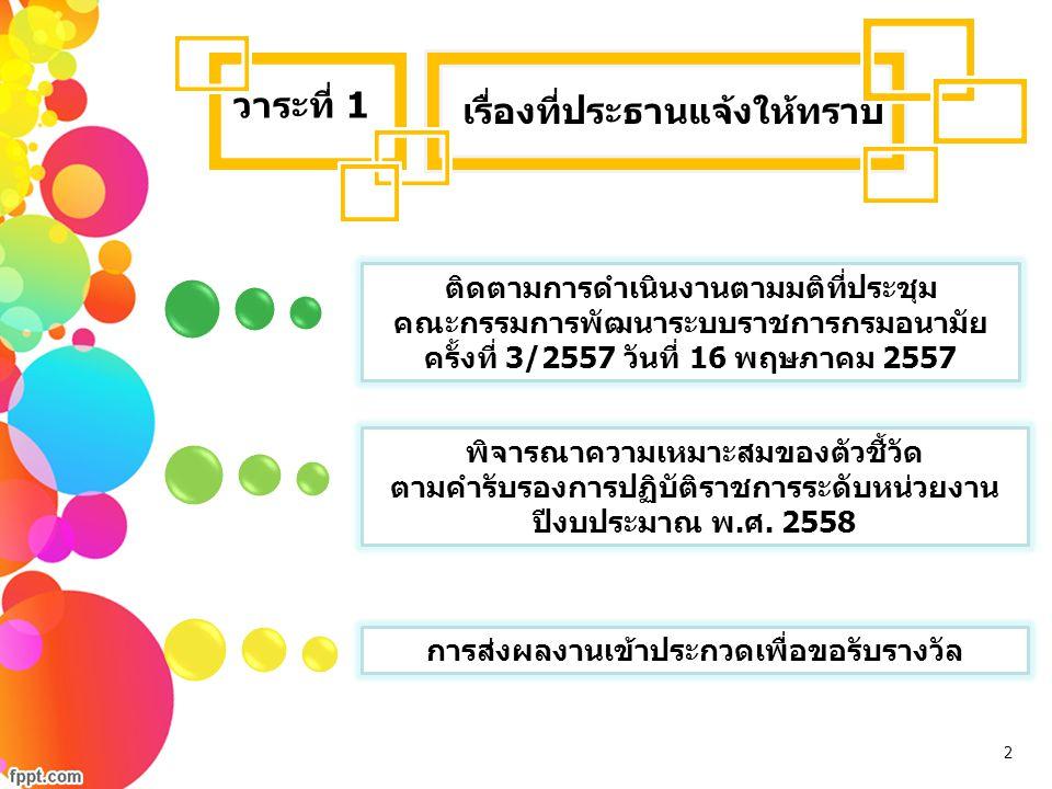 เรื่องที่ประธานแจ้งให้ทราบ วาระที่ 1 ติดตามการดำเนินงานตามมติที่ประชุม คณะกรรมการพัฒนาระบบราชการกรมอนามัย ครั้งที่ 3/2557 วันที่ 16 พฤษภาคม 2557 พิจาร