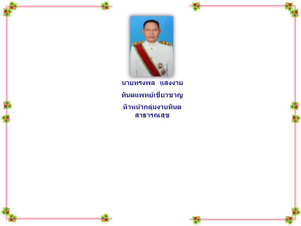 นายทรงพล แสงงาม ทันตแพทย์เชี่ยวชาญ หัวหน้ากลุ่มงานทันต สาธารณสุข นางน้ำทิพย์ จินดามณี จพ.
