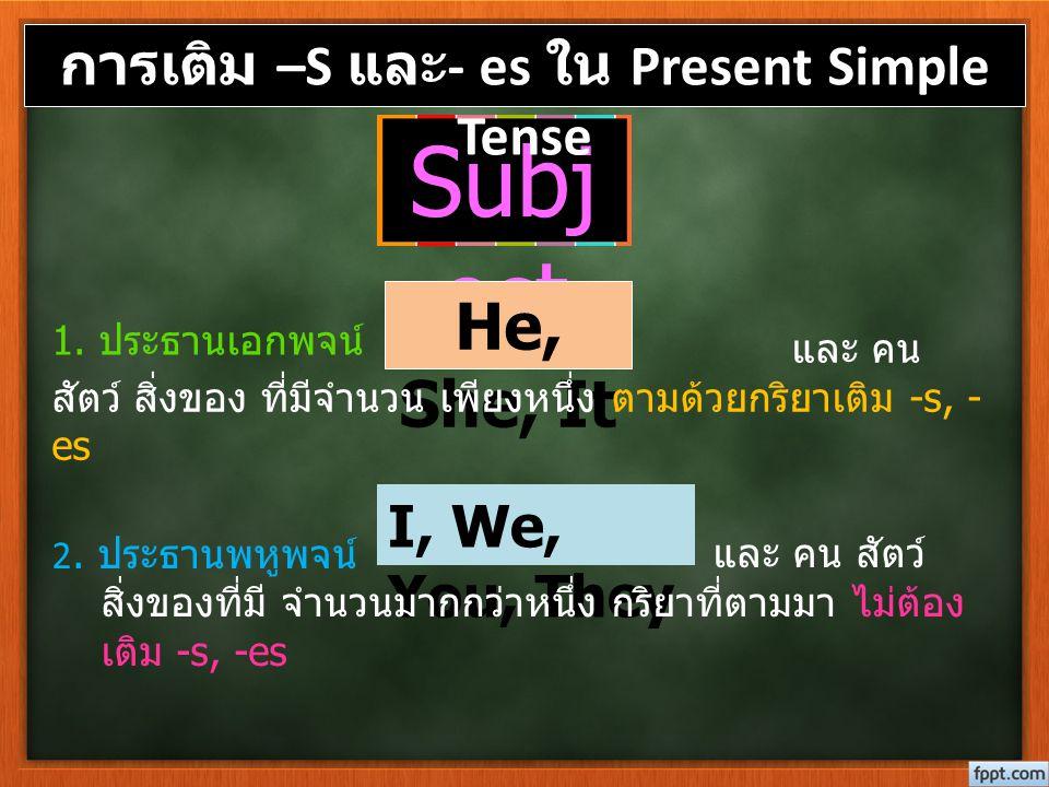 Subj ect 1. ประธานเอกพจน์ 2. ประธานพหูพจน์ การเติม –S และ - es ใน Present Simple Tense He, She, It และ คน สัตว์ สิ่งของ ที่มีจำนวน เพียงหนึ่ง ตามด้วยก