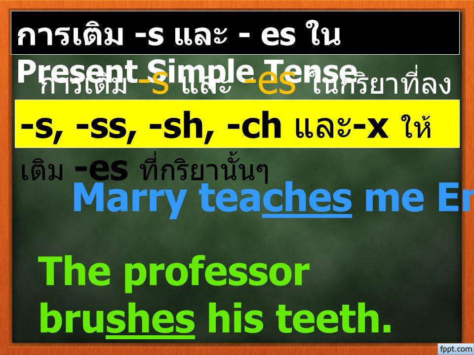 การเติม -s และ - es ใน Present Simple Tense การเติม -s และ -es ในกริยาที่ลง ท้ายด้วย Marry teaches me English. The professor brushes his teeth. -s, -s