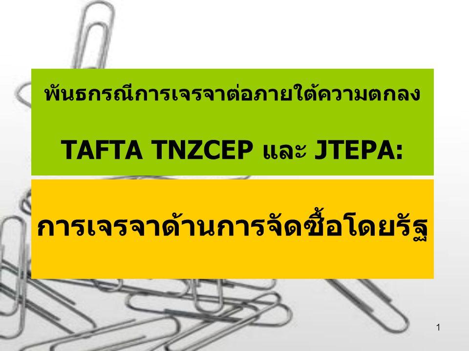 1 พันธกรณีการเจรจาต่อภายใต้ความตกลง TAFTA TNZCEP และ JTEPA: การเจรจาด้านการจัดซื้อโดยรัฐ
