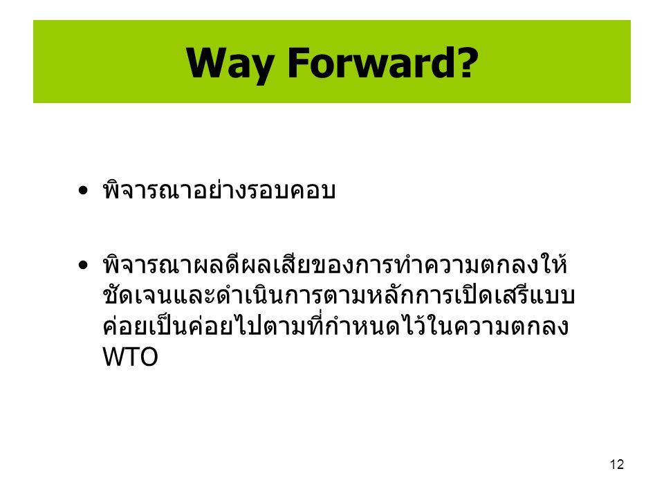 12 Way Forward? พิจารณาอย่างรอบคอบ พิจารณาผลดีผลเสียของการทำความตกลงให้ ชัดเจนและดำเนินการตามหลักการเปิดเสรีแบบ ค่อยเป็นค่อยไปตามที่กำหนดไว้ในความตกลง