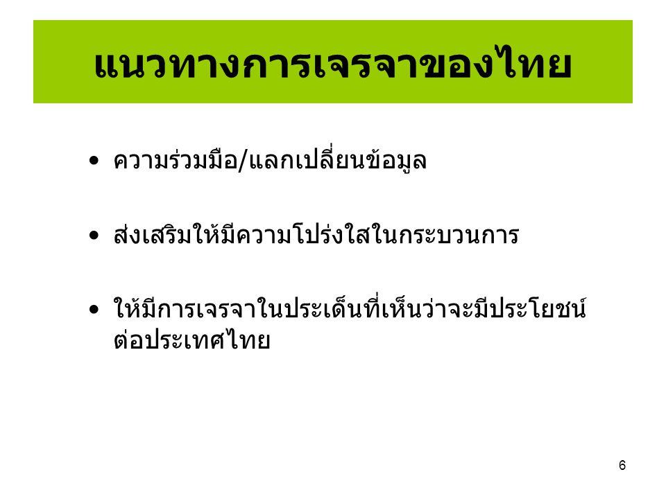 6 แนวทางการเจรจาของไทย ความร่วมมือ/แลกเปลี่ยนข้อมูล ส่งเสริมให้มีความโปร่งใสในกระบวนการ ให้มีการเจรจาในประเด็นที่เห็นว่าจะมีประโยชน์ ต่อประเทศไทย