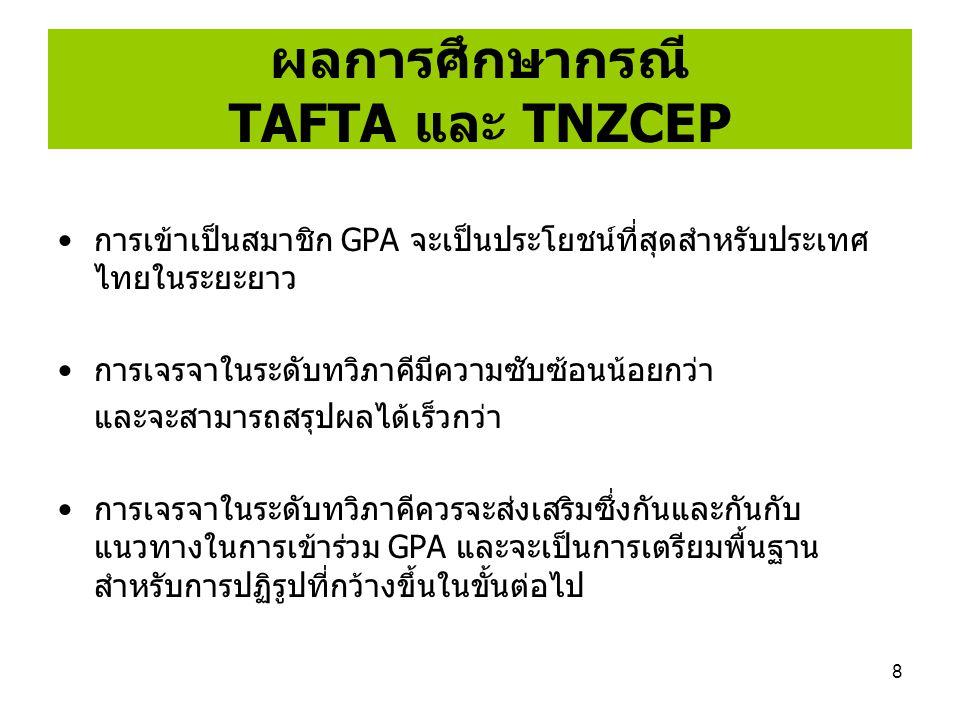 8 ผลการศึกษากรณี TAFTA และ TNZCEP การเข้าเป็นสมาชิก GPA จะเป็นประโยชน์ที่สุดสำหรับประเทศ ไทยในระยะยาว การเจรจาในระดับทวิภาคีมีความซับซ้อนน้อยกว่า และจ