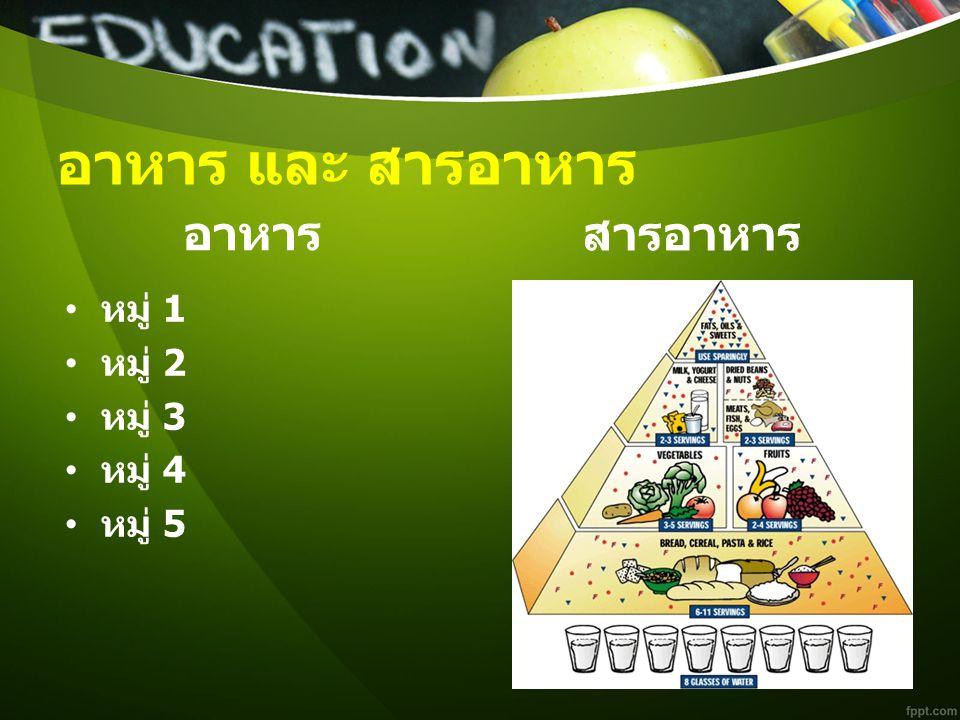 อาหาร และ สารอาหาร อาหาร หมู่ 1 หมู่ 2 หมู่ 3 หมู่ 4 หมู่ 5 สารอาหาร