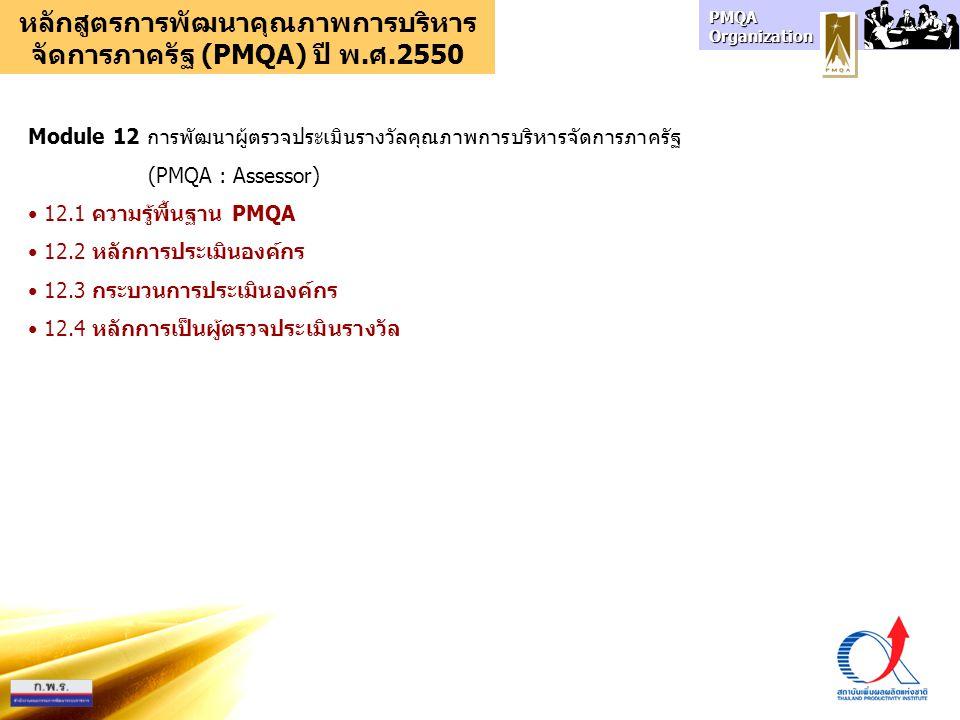 PMQA Organization หลักสูตรการพัฒนาคุณภาพการบริหาร จัดการภาครัฐ (PMQA) ปี พ.ศ.2550 Module 12 การพัฒนาผู้ตรวจประเมินรางวัลคุณภาพการบริหารจัดการภาครัฐ (PMQA : Assessor) 12.1 ความรู้พื้นฐาน PMQA 12.2 หลักการประเมินองค์กร 12.3 กระบวนการประเมินองค์กร 12.4 หลักการเป็นผู้ตรวจประเมินรางวัล