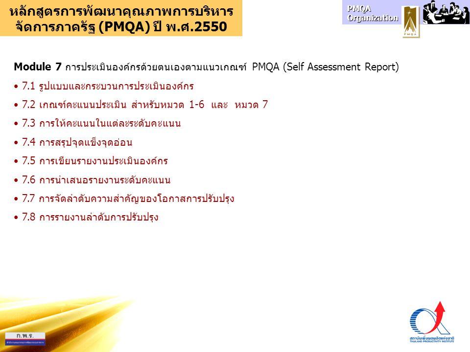 PMQA Organization หลักสูตรการพัฒนาคุณภาพการบริหาร จัดการภาครัฐ (PMQA) ปี พ.ศ.2550 Module 7 การประเมินองค์กรด้วยตนเองตามแนวเกณฑ์ PMQA (Self Assessment