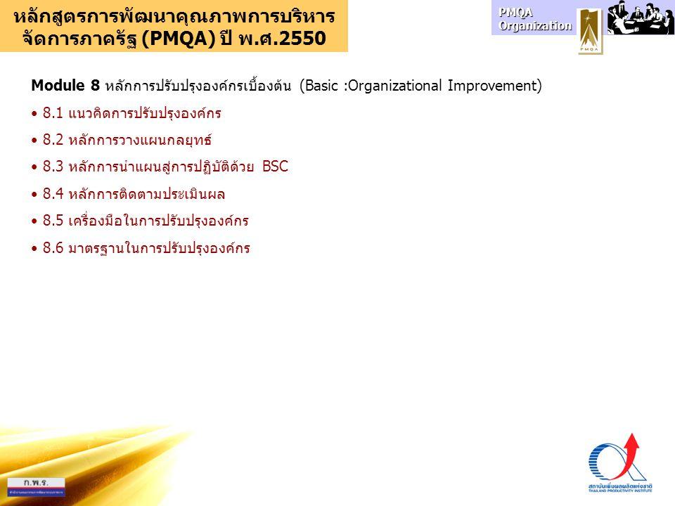 PMQA Organization หลักสูตรการพัฒนาคุณภาพการบริหาร จัดการภาครัฐ (PMQA) ปี พ.ศ.2550 Module 8 หลักการปรับปรุงองค์กรเบื้องต้น (Basic :Organizational Improvement) 8.1 แนวคิดการปรับปรุงองค์กร 8.2 หลักการวางแผนกลยุทธ์ 8.3 หลักการนำแผนสู่การปฏิบัติด้วย BSC 8.4 หลักการติดตามประเมินผล 8.5 เครื่องมือในการปรับปรุงองค์กร 8.6 มาตรฐานในการปรับปรุงองค์กร