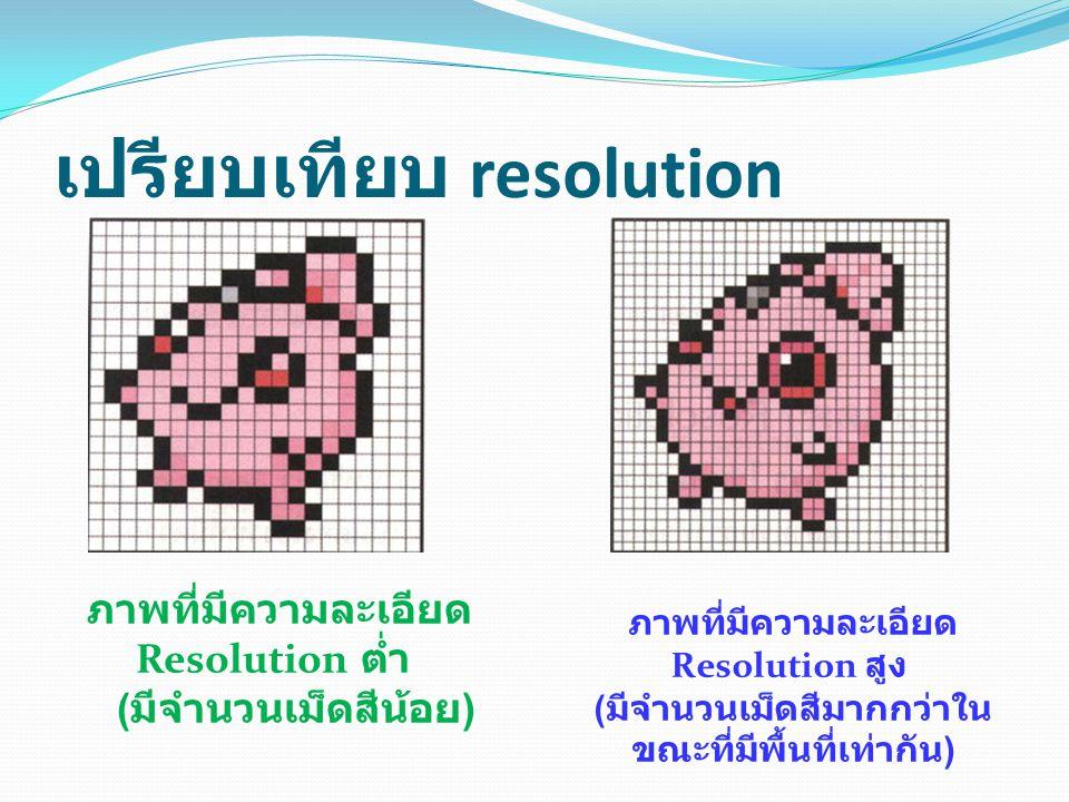เปรียบเทียบ resolution ภาพที่มีความละเอียด Resolution ต่ำ ( มีจำนวนเม็ดสีน้อย ) ภาพที่มีความละเอียด Resolution สูง ( มีจำนวนเม็ดสีมากกว่าใน ขณะที่มีพื้นที่เท่ากัน )