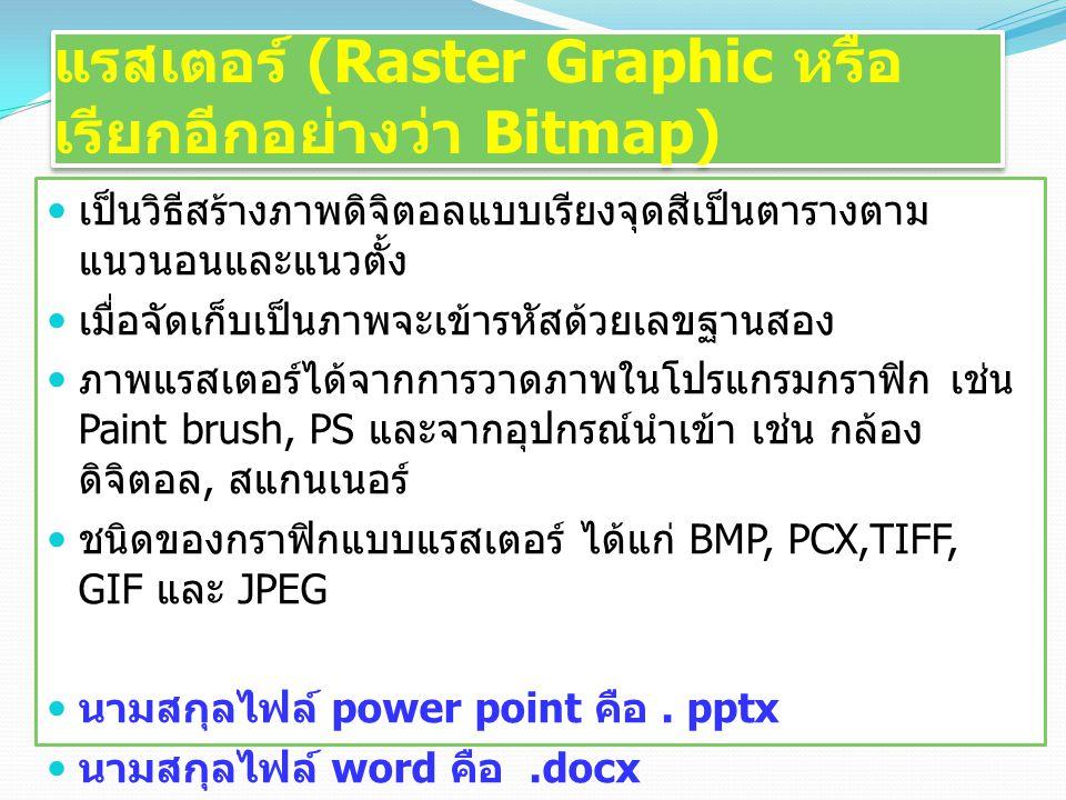 แรสเตอร์ (Raster Graphic หรือ เรียกอีกอย่างว่า Bitmap) เป็นวิธีสร้างภาพดิจิตอลแบบเรียงจุดสีเป็นตารางตาม แนวนอนและแนวตั้ง เมื่อจัดเก็บเป็นภาพจะเข้ารหัสด้วยเลขฐานสอง ภาพแรสเตอร์ได้จากการวาดภาพในโปรแกรมกราฟิก เช่น Paint brush, PS และจากอุปกรณ์นำเข้า เช่น กล้อง ดิจิตอล, สแกนเนอร์ ชนิดของกราฟิกแบบแรสเตอร์ ได้แก่ BMP, PCX,TIFF, GIF และ JPEG นามสกุลไฟล์ power point คือ.