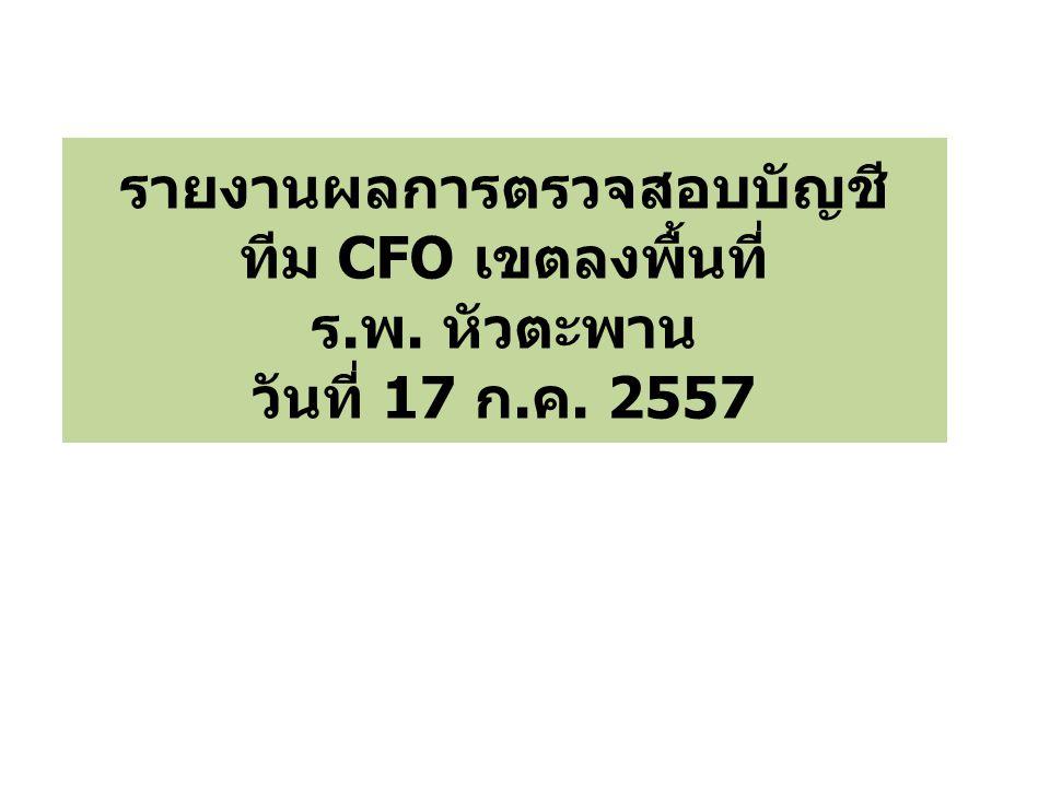 รายงานผลการตรวจสอบบัญชี ทีม CFO เขตลงพื้นที่ ร.พ. หัวตะพาน วันที่ 17 ก.ค. 2557