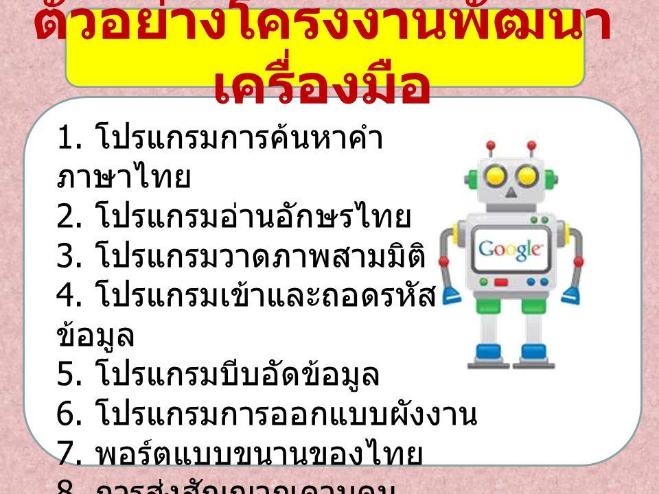 1. โปรแกรมการค้นหาคำ ภาษาไทย 2. โปรแกรมอ่านอักษรไทย 3. โปรแกรมวาดภาพสามมิติ 4. โปรแกรมเข้าและถอดรหัส ข้อมูล 5. โปรแกรมบีบอัดข้อมูล 6. โปรแกรมการออกแบบ