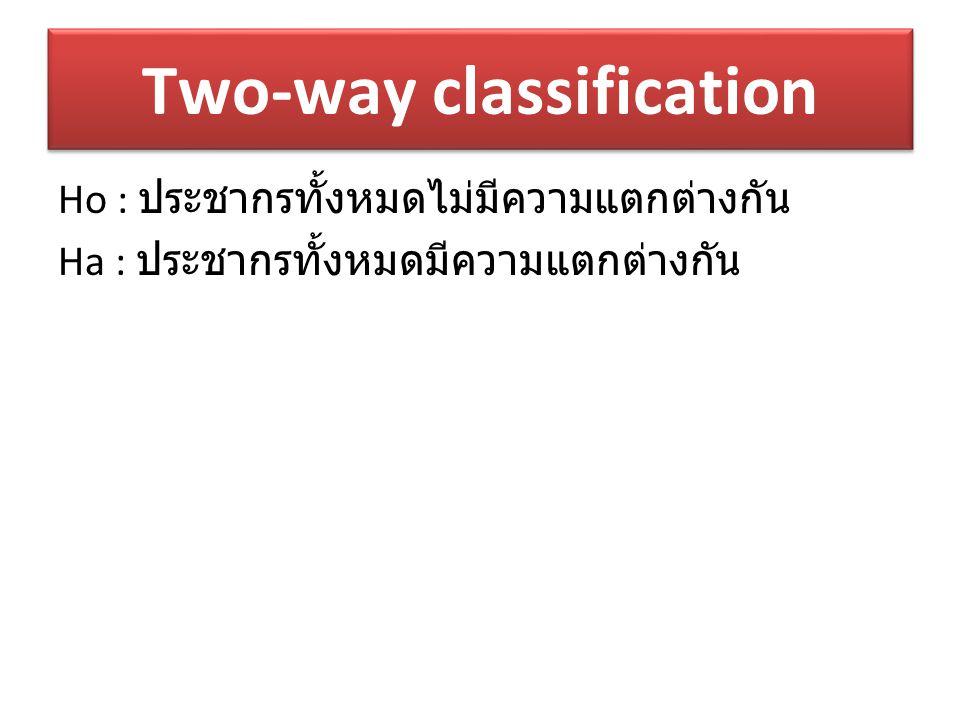 Two-way classification Ho : ประชากรทั้งหมดไม่มีความแตกต่างกัน Ha : ประชากรทั้งหมดมีความแตกต่างกัน