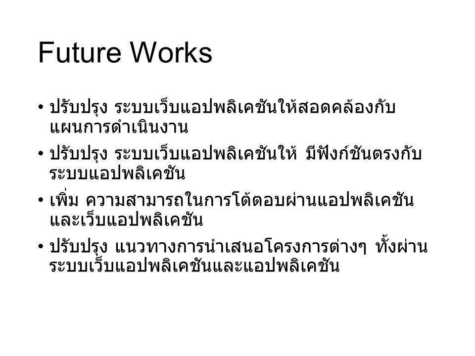 Future Works ปรับปรุง ระบบเว็บแอปพลิเคชันให้สอดคล้องกับ แผนการดำเนินงาน ปรับปรุง ระบบเว็บแอปพลิเคชันให้ มีฟังก์ชันตรงกับ ระบบแอปพลิเคชัน เพิ่ม ความสาม