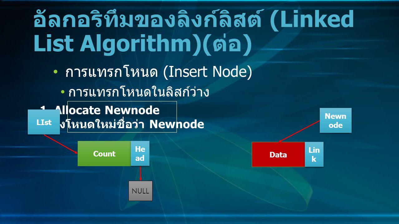 การแทรกโหนด (Insert Node) การแทรกโหนดในลิสก์ว่าง อัลกอริทึมของลิงก์ลิสต์ (Linked List Algorithm)( ต่อ ) Data Lin k NULL 1.