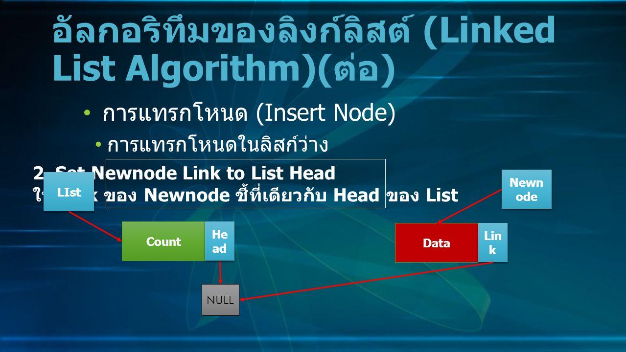 การแทรกโหนด (Insert Node) การแทรกโหนดในลิสก์ว่าง อัลกอริทึมของลิงก์ลิสต์ (Linked List Algorithm)( ต่อ ) 2.