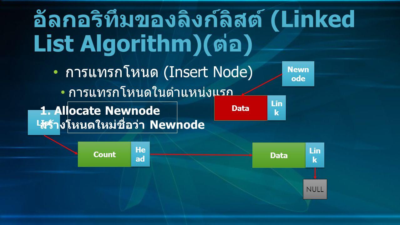 การแทรกโหนด (Insert Node) การแทรกโหนดในตำแหน่งแรก อัลกอริทึมของลิงก์ลิสต์ (Linked List Algorithm)( ต่อ ) Data Lin k NULL Count He ad LIst 1.