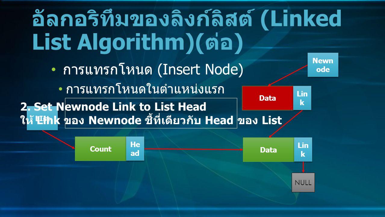 การแทรกโหนด (Insert Node) การแทรกโหนดในตำแหน่งแรก อัลกอริทึมของลิงก์ลิสต์ (Linked List Algorithm)( ต่อ ) Data Lin k NULL Count He ad LIst 2.