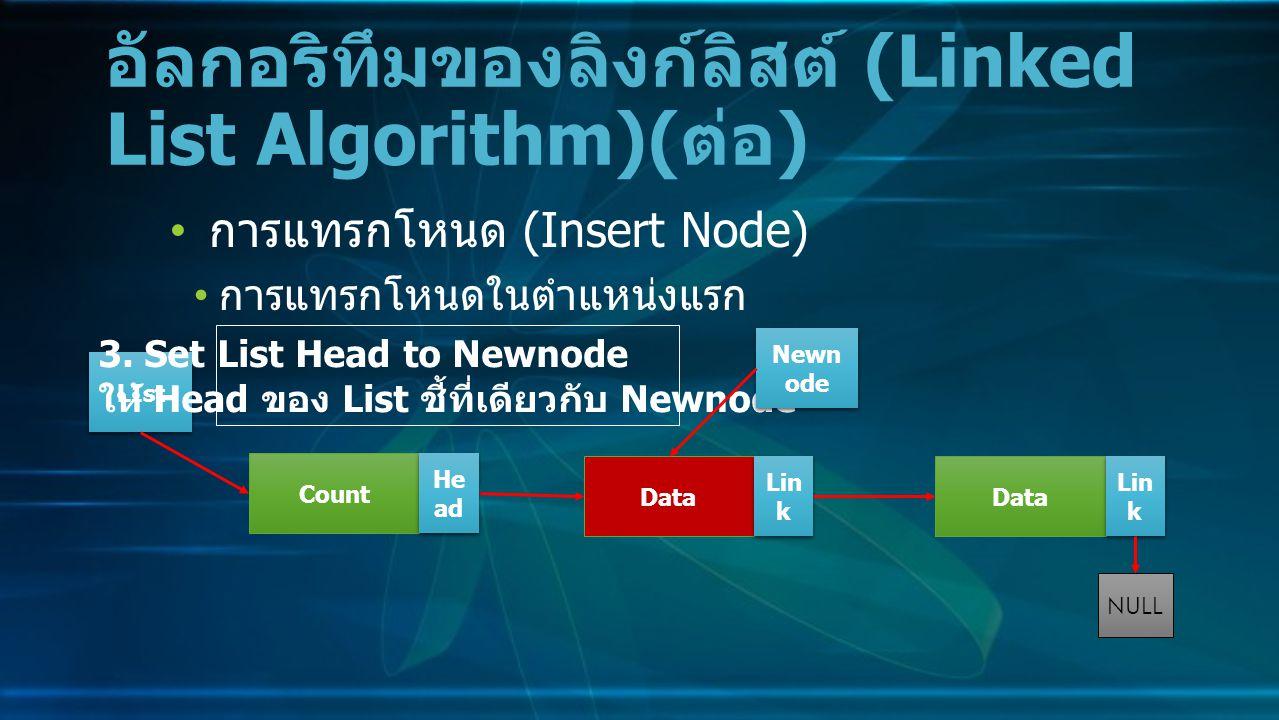 การแทรกโหนด (Insert Node) การแทรกโหนดในตำแหน่งแรก อัลกอริทึมของลิงก์ลิสต์ (Linked List Algorithm)( ต่อ ) Data Lin k NULL Count He ad LIst 3.