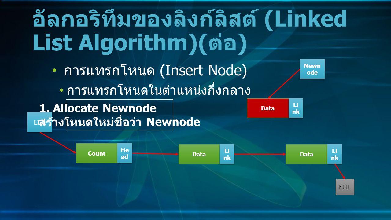การแทรกโหนด (Insert Node) การแทรกโหนดในตำแหน่งกึ่งกลาง อัลกอริทึมของลิงก์ลิสต์ (Linked List Algorithm)( ต่อ ) Data Li nk NULL Count He ad LIst 1.