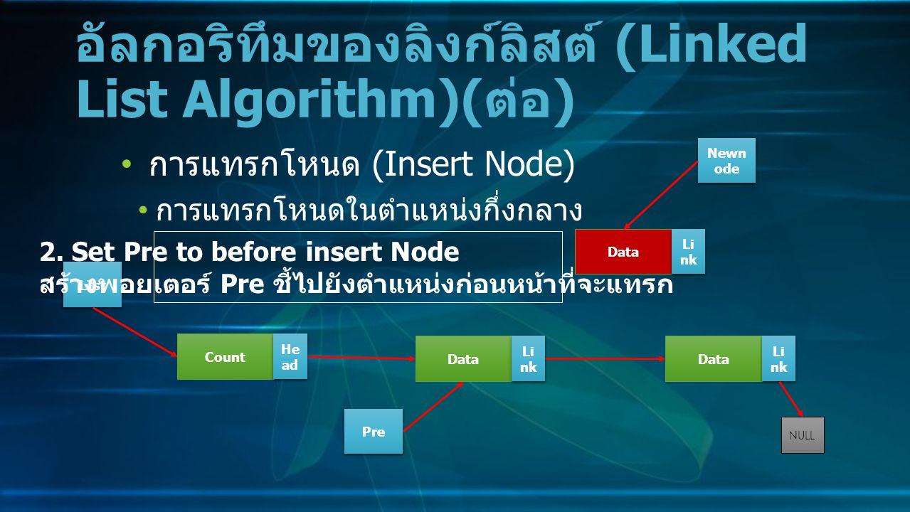 การแทรกโหนด (Insert Node) การแทรกโหนดในตำแหน่งกึ่งกลาง อัลกอริทึมของลิงก์ลิสต์ (Linked List Algorithm)( ต่อ ) Data Li nk NULL Count He ad LIst 2.