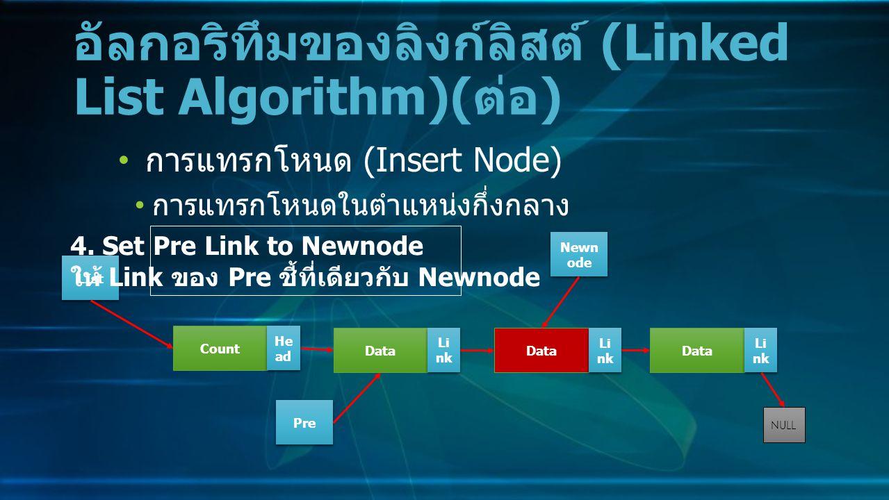 การแทรกโหนด (Insert Node) การแทรกโหนดในตำแหน่งกึ่งกลาง อัลกอริทึมของลิงก์ลิสต์ (Linked List Algorithm)( ต่อ ) Data Li nk NULL Count He ad LIst 4.
