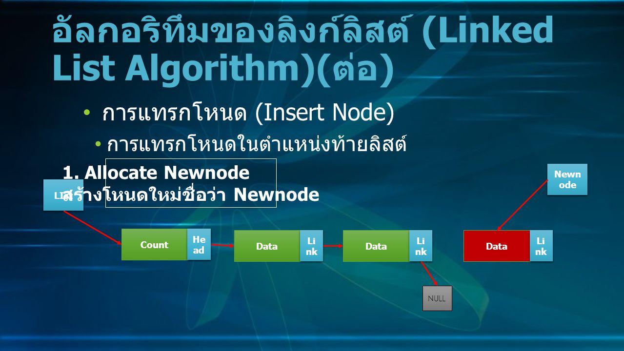 การแทรกโหนด (Insert Node) การแทรกโหนดในตำแหน่งท้ายลิสต์ อัลกอริทึมของลิงก์ลิสต์ (Linked List Algorithm)( ต่อ ) Data Li nk NULL Count He ad LIst 1.