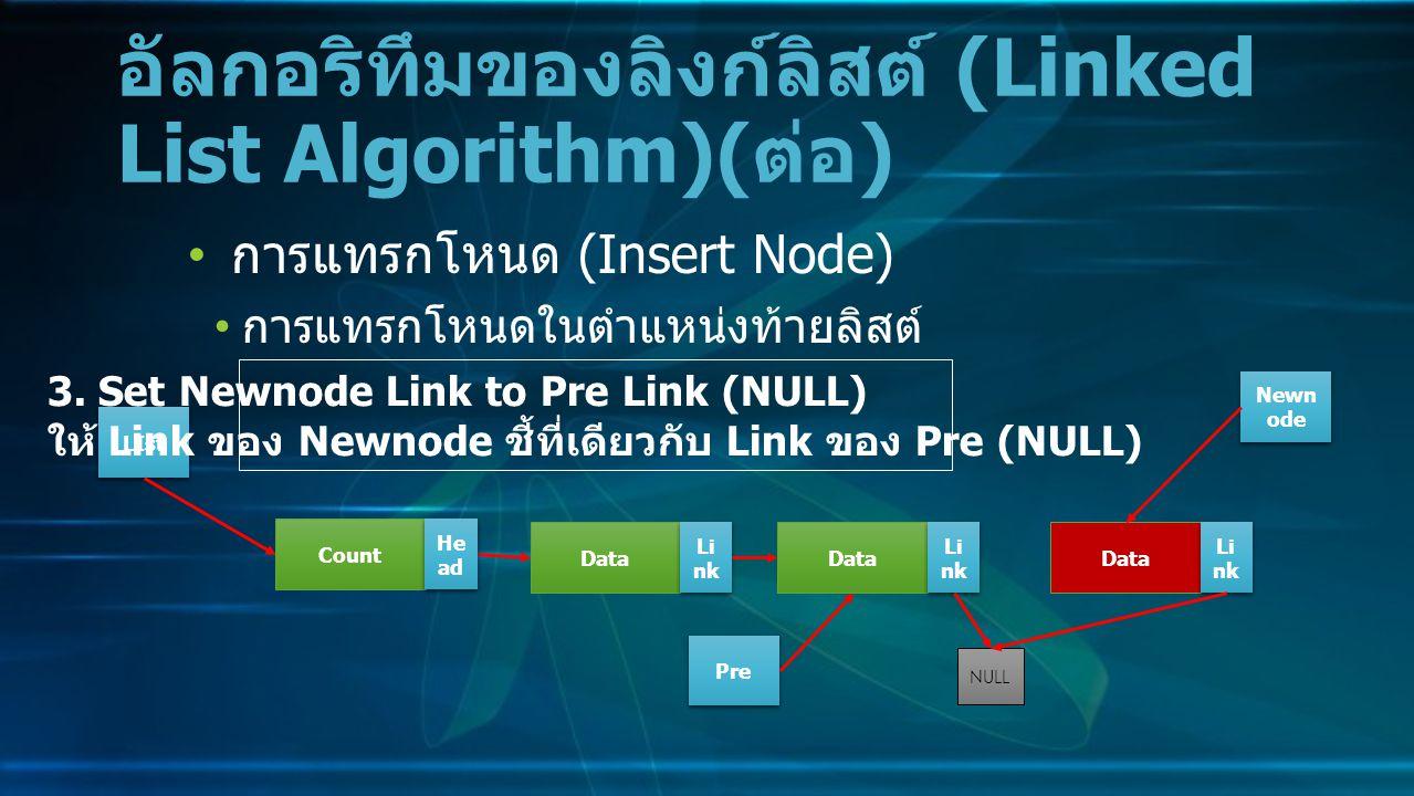 การแทรกโหนด (Insert Node) การแทรกโหนดในตำแหน่งท้ายลิสต์ อัลกอริทึมของลิงก์ลิสต์ (Linked List Algorithm)( ต่อ ) Data Li nk NULL Count He ad LIst 3.
