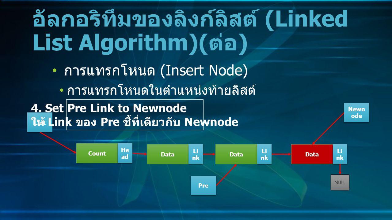 การแทรกโหนด (Insert Node) การแทรกโหนดในตำแหน่งท้ายลิสต์ อัลกอริทึมของลิงก์ลิสต์ (Linked List Algorithm)( ต่อ ) Data Li nk NULL Count He ad LIst 4.
