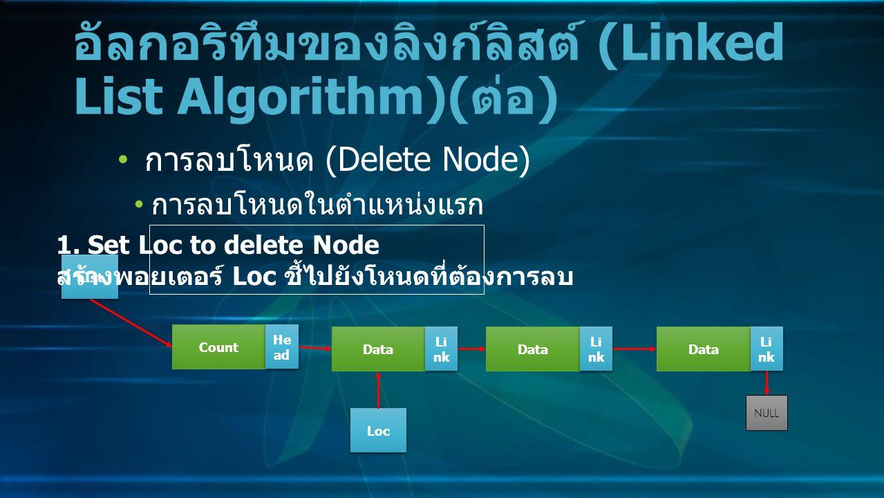 การลบโหนด (Delete Node) การลบโหนดในตำแหน่งแรก อัลกอริทึมของลิงก์ลิสต์ (Linked List Algorithm)( ต่อ ) Data Li nk NULL Count He ad LIst 1.