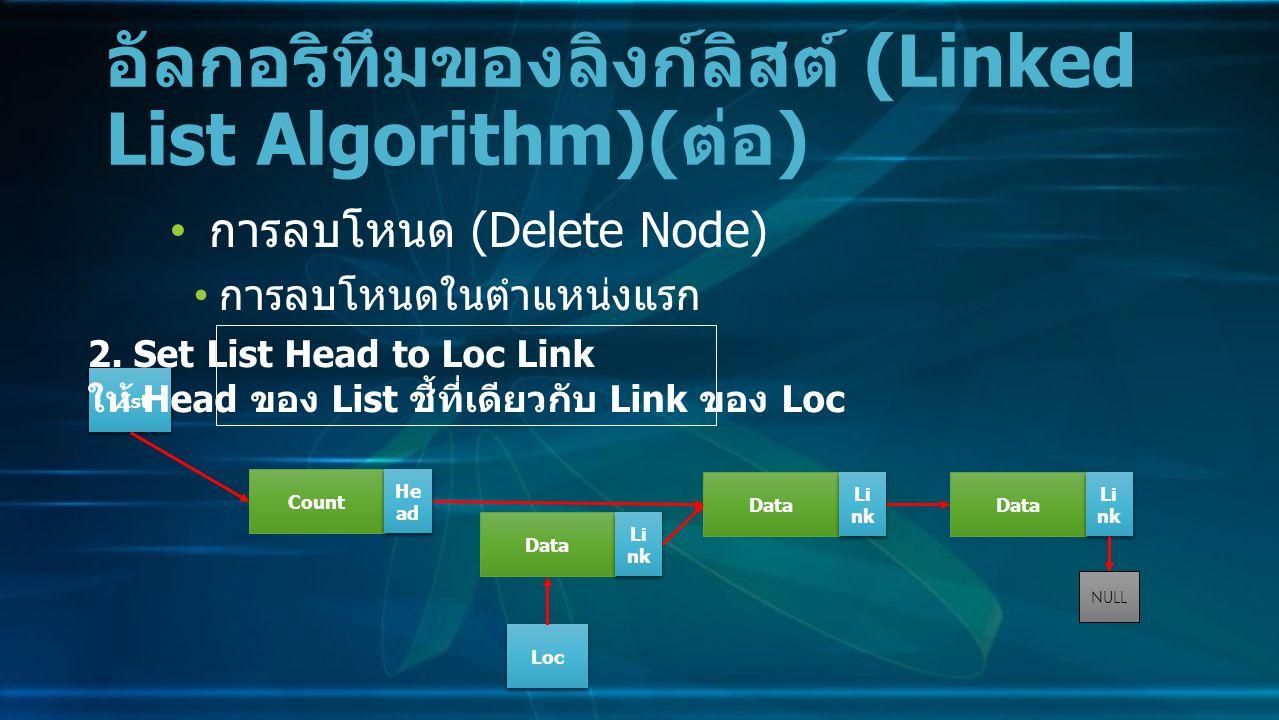 การลบโหนด (Delete Node) การลบโหนดในตำแหน่งแรก อัลกอริทึมของลิงก์ลิสต์ (Linked List Algorithm)( ต่อ ) Data Li nk NULL Count He ad LIst 2.