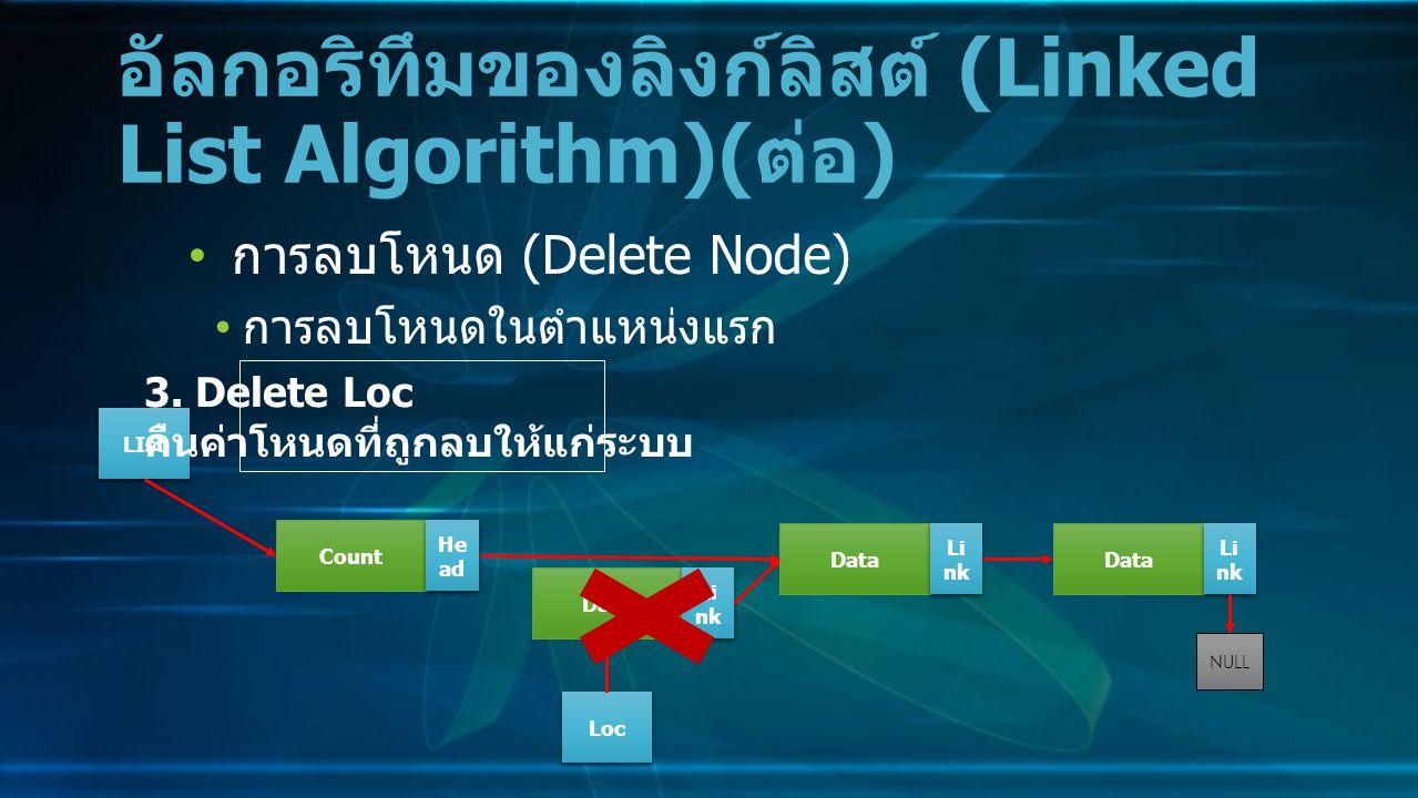 การลบโหนด (Delete Node) การลบโหนดในตำแหน่งแรก อัลกอริทึมของลิงก์ลิสต์ (Linked List Algorithm)( ต่อ ) Data Li nk NULL Count He ad LIst 3.