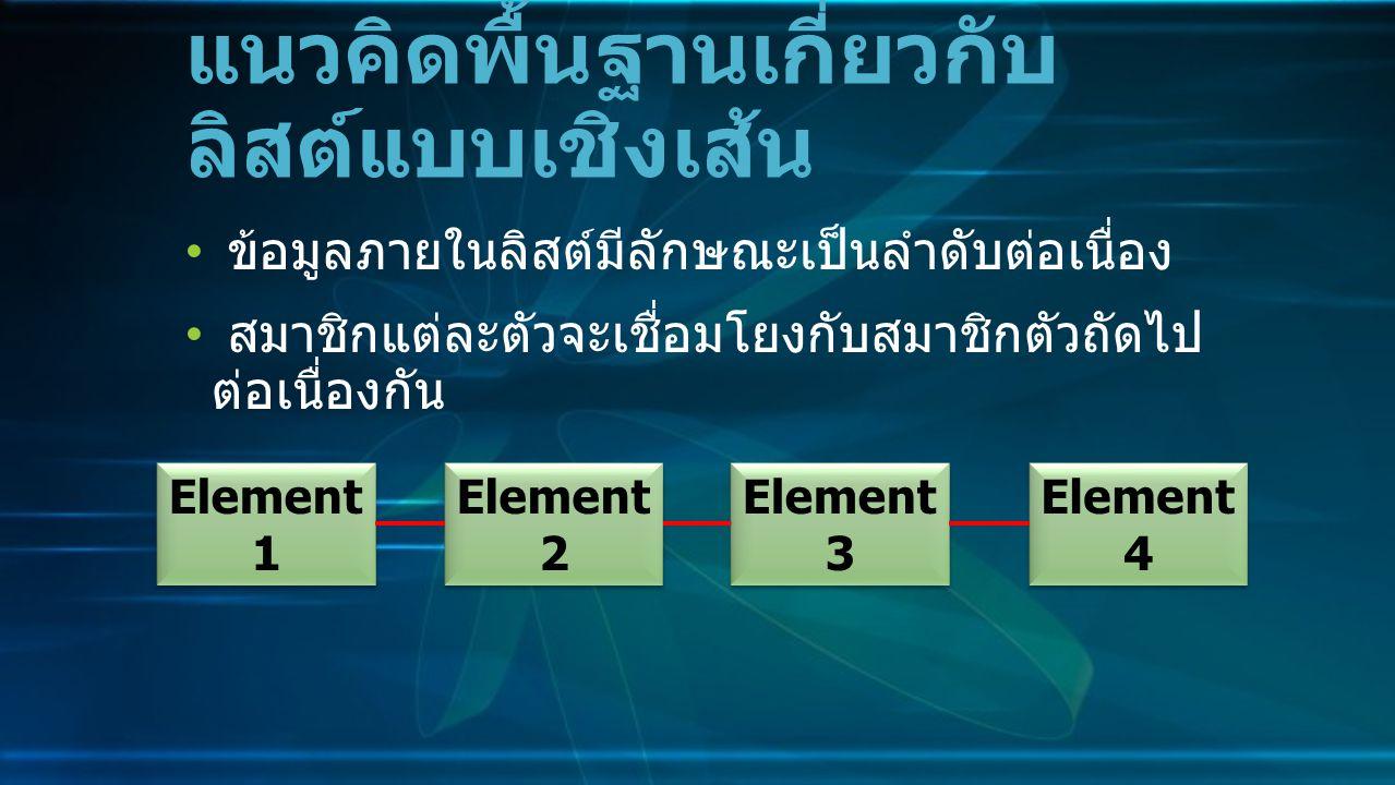 ข้อมูลภายในลิสต์มีลักษณะเป็นลำดับต่อเนื่อง สมาชิกแต่ละตัวจะเชื่อมโยงกับสมาชิกตัวถัดไป ต่อเนื่องกัน แนวคิดพื้นฐานเกี่ยวกับ ลิสต์แบบเชิงเส้น Element 1 Element 2 Element 3 Element 4