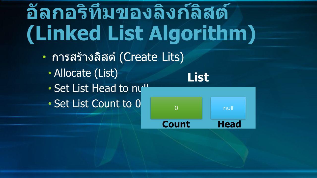 การสร้างลิสต์ (Create Lits) Allocate (List) Set List Head to null Set List Count to 0 อัลกอริทึมของลิงก์ลิสต์ (Linked List Algorithm) 0 0 null List CountHead