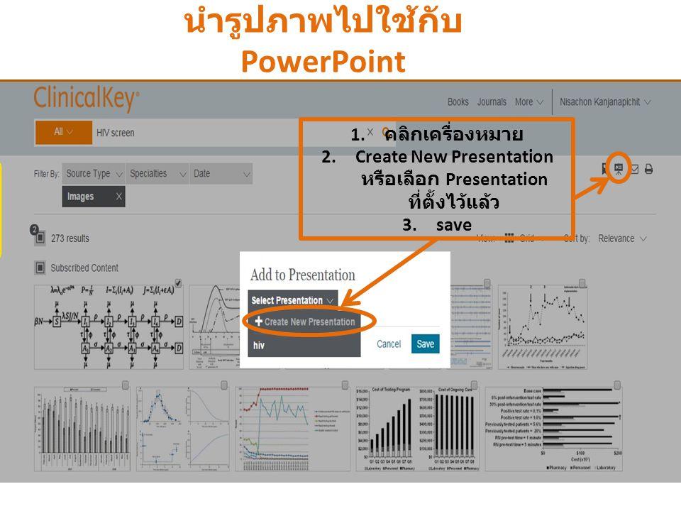 นำรูปภาพไปใช้กับ PowerPoint 1. คลิก usename 2. เลือก Presentations 3. คลิก Export