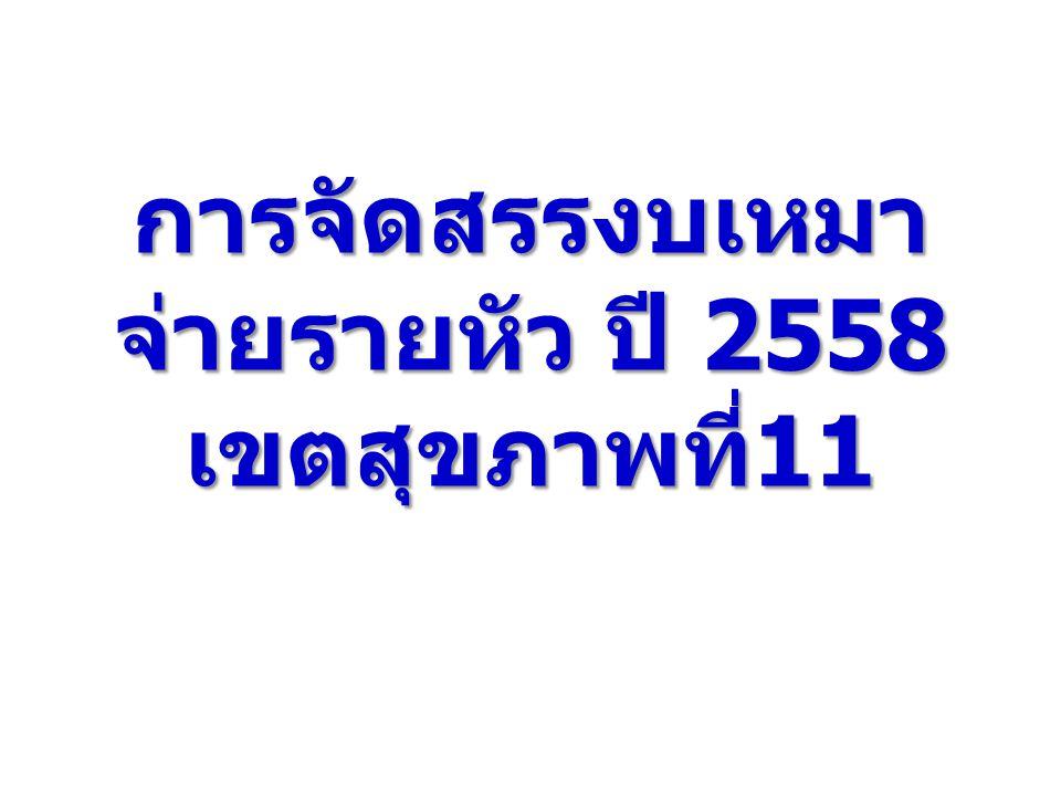 การจัดสรรงบเหมา จ่ายรายหัว ปี 2558 เขตสุขภาพที่ 11