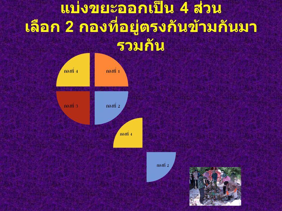 แบ่งขยะออกเป็น 4 ส่วน เลือก 2 กองที่อยู่ตรงกันข้ามกันมา รวมกัน