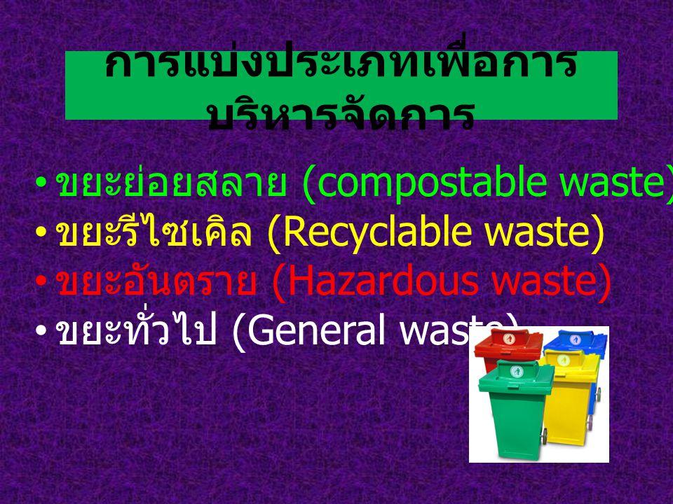 การแบ่งประเภทเพื่อการ บริหารจัดการ ขยะย่อยสลาย (compostable waste) ขยะรีไซเคิล (Recyclable waste) ขยะอันตราย (Hazardous waste) ขยะทั่วไป (General wast