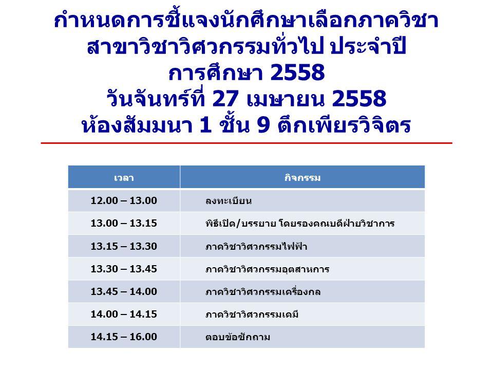 กำหนดการชี้แจงนักศึกษาเลือกภาควิชา สาขาวิชาวิศวกรรมทั่วไป ประจำปี การศึกษา 2558 วันจันทร์ที่ 27 เมษายน 2558 ห้องสัมมนา 1 ชั้น 9 ตึกเพียรวิจิตร เวลากิจกรรม 12.00 – 13.00 ลงทะเบียน 13.00 – 13.15 พิธีเปิด / บรรยาย โดยรองคณบดีฝ่ายวิชาการ 13.15 – 13.30 ภาควิชาวิศวกรรมไฟฟ้า 13.30 – 13.45 ภาควิชาวิศวกรรมอุตสาหการ 13.45 – 14.00 ภาควิชาวิศวกรรมเครื่องกล 14.00 – 14.15 ภาควิชาวิศวกรรมเคมี 14.15 – 16.00 ตอบข้อซักถาม
