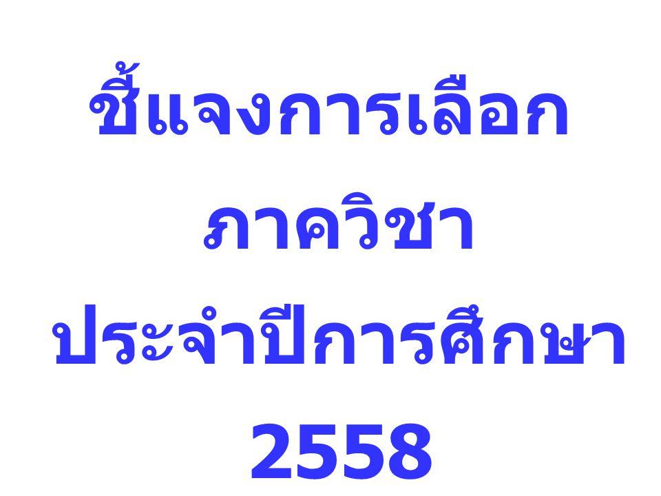ชี้แจงการเลือก ภาควิชา ประจำปีการศึกษา 2558 จันทร์ที่ 27 เมษายน 2558