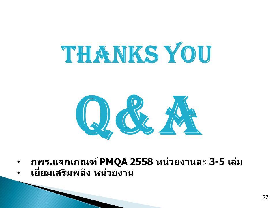 Q&A Thanks You กพร.แจกเกณฑ์ PMQA 2558 หน่วยงานละ 3-5 เล่ม เยี่ยมเสริมพลัง หน่วยงาน 27