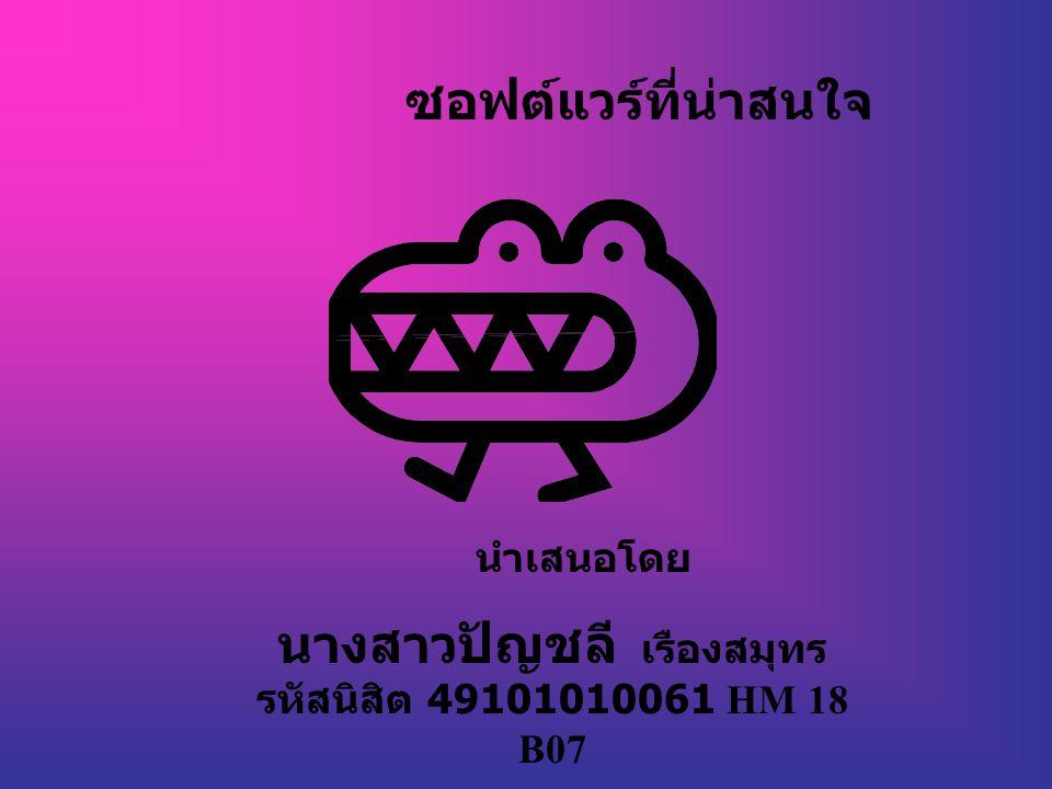 ซอฟต์แวร์ที่น่าสนใจ นำเสนอโดย นางสาวปัญชลี เรืองสมุทร รหัสนิสิต 49101010061 HM 18 B07