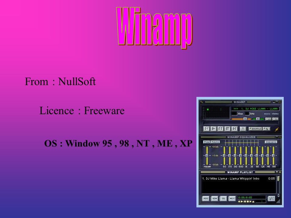 From : NullSoft Licence : Freeware OS : Window 95, 98, NT, ME, XP