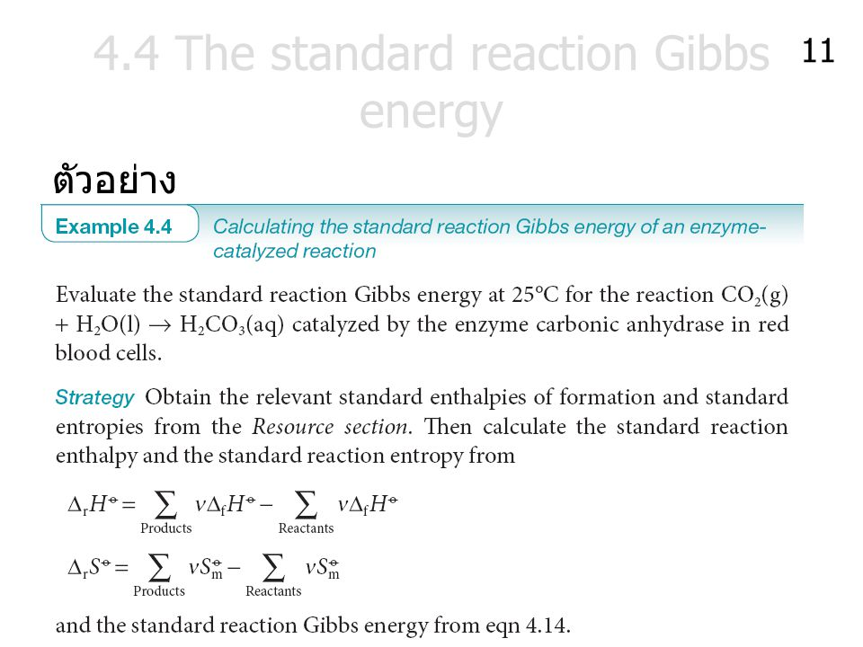 4.4 The standard reaction Gibbs energy ตัวอย่าง 11