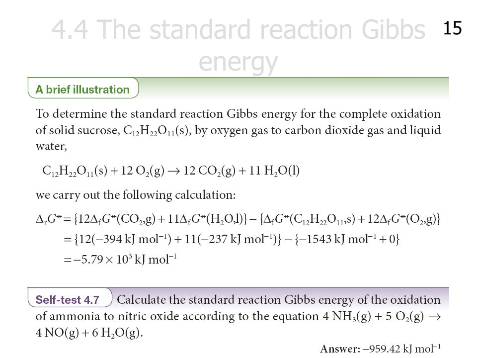 4.4 The standard reaction Gibbs energy 15